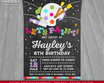 Art Paint Party Invitation - Art Birthday Party Invitation - Paint Chalkboard Party Printed or Printable Invitation girl boy
