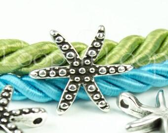 25%OFF Greek Mykonos Casting Starfish bracelet connector charm 2 holes sea star beads Silver Plated textured Beach Nautical charm 1pc
