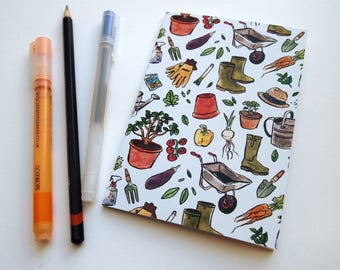Gardening Patterned A6 Notebook - Recycled Paper | Blank Inside