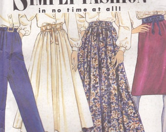 1990's Sewing Pattern - Simplicity 7021 Skirt, Pants Belt  Size 6-14 Uncut and factory folded