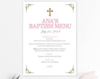 Menu bautizo chica, gold and pink, menu imprimible, baptism menu, menu cards, digital file, bautizo, comunion, fiesta, gold baptism BFC02