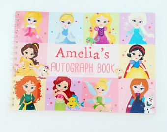 Personalised Autograph book choice of design inc princesses