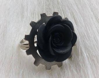 gears n roses ring, thin band - various colours
