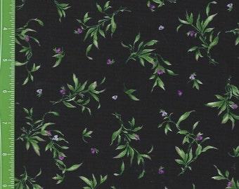 Catalina Ultra Violet leaves,buds, on Black ,Maywood Studio 8407