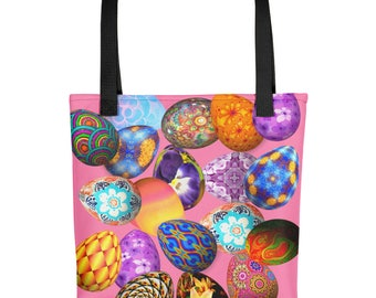 All Over Easter Eggs on Pink Book Gym Market Tote Bag
