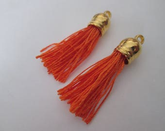2 PomPoms 45 mm, orange color suede fringe tassel