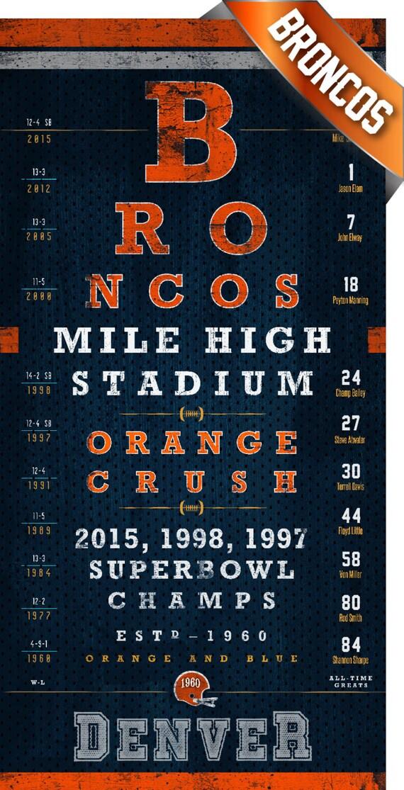 Denver Broncos 2015 1998 1997 Champs Eye Chart Perfect  Denver Broncos ...