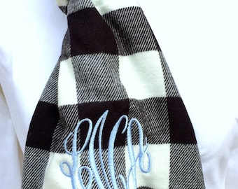 Monogrammed Buffalo Check Scarves - Women's Neck Scarf - Personalized Scarf - Cashmere Feel Scarf - Plaid Scarf - Personalized Scarf
