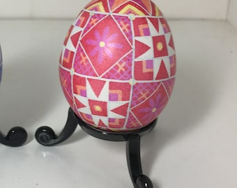 Pink/Red/Orange Star Pysanky Chicken Egg
