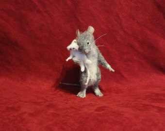 mouse wool needle felted realistic sculpture needle felted realistic figurine toy animals