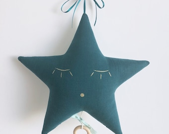 Mobile music star gauze cotton blue and Mint with gold triangles - music box - a star in my cabin