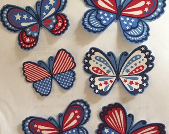 4th of July American Butterflies - Iron On Fabric Appliques - USA - Red White Blue