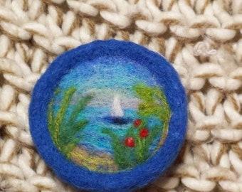 Needle felted brooch