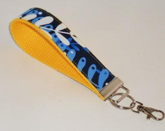 Wristlet Royal Blue Petals Key Fob Key Chain Key Holder keychain