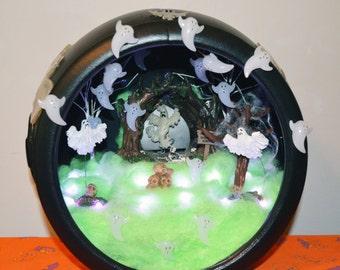 Halloween Diorama, Cauldron, Halloween Miniature, Halloween Scene, Halloween Table Decoration Centerpiece,Ghost Convention , Ready to Ship!
