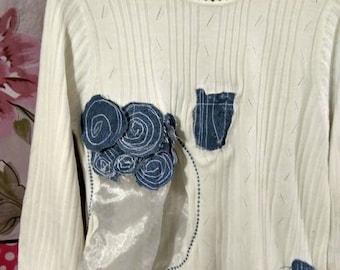 "vintage Dotty"" medium sweater shirt upcycled blue jeans denim patchwork steampunk"