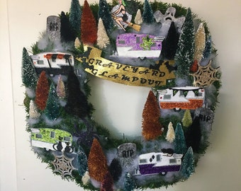 Vintage Camper Halloween Wreath