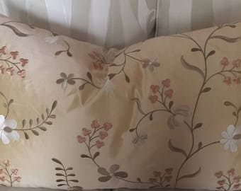 26x16 in Ecru embroidered silk pillow cover