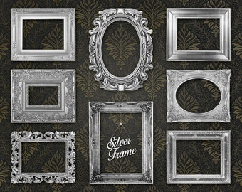 "Silver Picture Frame Clipart Clip Art: ""Silver Frames"" digital silver frames, ornate picture frames for scrapbooking, collages"