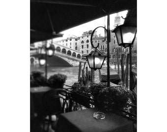 Venice Photography, Black and White Venice, Rialto Bridge Photo, Art Photography, Venice, Italy.