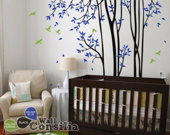 """Baby Nursery Wall Decals - Birch Trees Decal - Skinny Trees Wall Decal - Tree Wall Decals - Vinyl Mural - Large: approx 95"""" x 89"""" - KC047"""