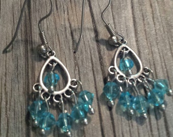 Aqua Blue Swarovski Chandelier Earrings, Aqua Blue Crystal Earrings, Chandelier Earrings, Crystal Dangle Earrings, Silver Dangle Earrings