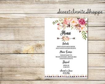 Wedding Menu, Printable Floral Wedding Menu Card, Boho Tribal Wedding Menu, Watercolor Personalized Wedding Menu Template, Peony Menu Card