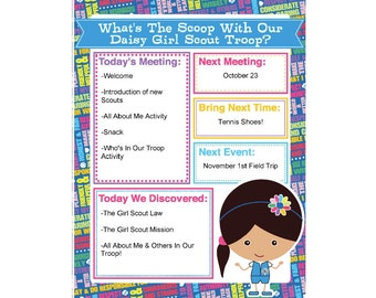 Daisy Girl Scout Agenda Meeting Handout - Printable Instant Download