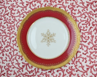 """French Limoges Plates - Set of 6 Plates, 8.5"""" Luncheon Plates, Red & Gold Encrusted Plates, C. Ahrenfeldt, France, Vintage China Plates"""