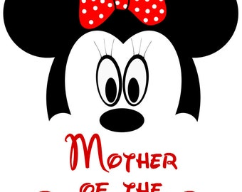 INSTANT Download Minnie Head Mother of the Birthday Girl Disney Printable Iron on Transfer Design