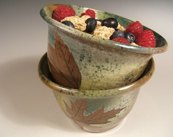 Wheelthrown  stoneware cereal bowl ice cream bowl with leaf impressions