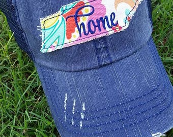 Super Cute womens fit distressed raggy trucker TN Tennessee state cap hat tristar VOL Tennessee Home State Home cap hat