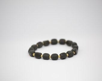 Square Beaded Black Amber Bracelet