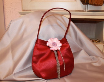 Little Burgundy Silky Purse with Bright Pink Flower and Silver Chains