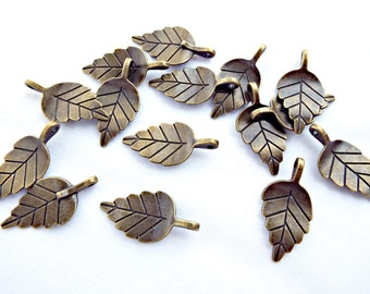 10 Leaf Charms, Antique Bronze Charm, Leaf Pendant, 28mm Bronze Leaves, Double Sided, Metal Charms, Bronze Leaf, UK Seller, Jewelry Supplies