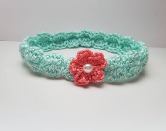 Crochet Headband with Pink Flower, Crochet Baby Headband, Crochet Girl's Headband, Made To Order