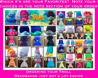 Troll Headbands, Troll Costume accessory, Poppy Hair, Poppy Headband Inspired by but in No way affiliated with any Trolls products