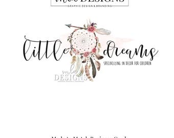 Dreamcatcher Logo, Rustic Logo, Boho Logo, Watercolor Logo, Bohemian Logo, Premade Logo, Custom Logo Design, Country Logo, Arrow Logo