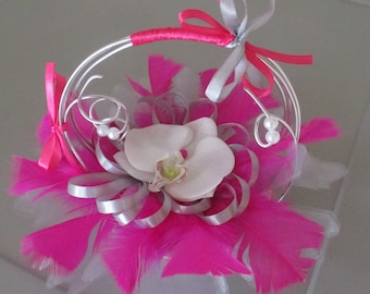 Basket-ring pillow, fuchsia and grey