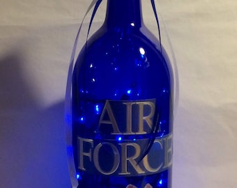 Air Force 1.5 Liter Cobalt Blue Lighted Wine Bottle