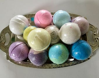 12 Assorted Bath Bombs - 5 oz. XL With A Shabby Chic Tray,  WEDDING, Birthday, Shower Favors. Easter, Mother'Day, Custom Work Available