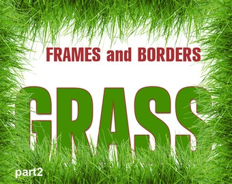 Digital Grass Frames and borders, green, grass fotorealistic clipart, scrapbooking, Printable, Digital Collage, Instant Download