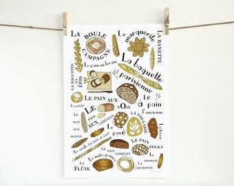 Kitchen Art Poster French Breads Art Print Home Decor 13x19 Gourmet foodie food brown typographic print