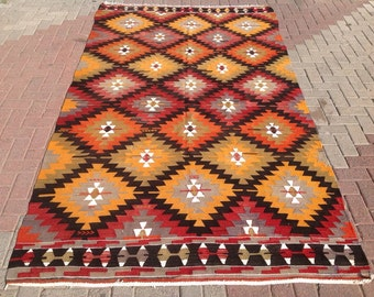 "10'1"" x 5'7"" Kilim rug, Vintage Turkish rug, area rug, vintage rug, bohemian rug, eccentric rug, anatolian, 553"