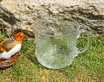 Iittala Fauna Glass Pitcher 32 Oz. Jug Oiva Toikka Nuutajärvi Arabia Finland Vintage 1970s Embossed Art Glass Plants Animals Geometrics