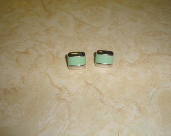 vintage clip on earrings silvertone wedgwood enamel green
