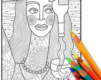 WINE Adult Coloring Page Sheet Digital Printable For Adults