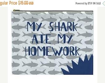 Memorial Day Sale pool pencil bag - my shark ate my homework