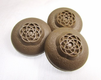 """Sandy Tan: Large 1"""" (25mm) Floral and Textured Buttons - Set of 3 Vintage Matching Buttons"""