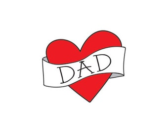 funny father's day gift for dad temporary tattoo fathers day photography prop vintage heart banner fake tattoo gift from son daughter